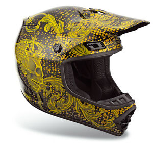 Adult Small Bell Mx 1 Gold Black Skull Helmet Atv Dirt Bike