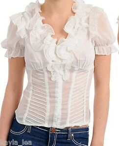 0d9f12395b Off White Hook/Eye Close Ruffle Front Short Sleeve Smocked Back Top ...