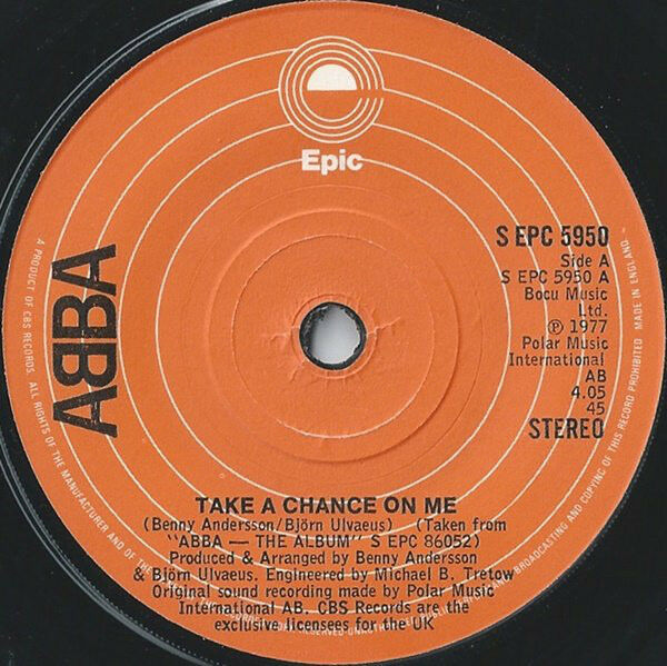 "Abba, Take A Chance On Me, NEW/MINT UK 7"" vinyl single (In EPIC house sleeve)"