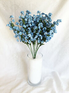 12 light blue babys breath stems gypsophila silk wedding flowers image is loading 12 light blue baby 039 s breath stems junglespirit Images