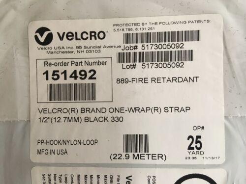 """Fire Retardant Black #151492 22.9 M Velcro Hook /& Loop Black 1//2/"""" X 25 Yd"""