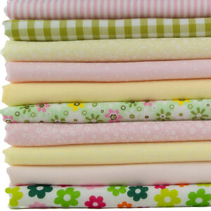 GREEN COTTON FABRIC  FAT QUARTERS  BUNDLE OR SQUARES VINTAGE ROSES GINGHAM SPOT