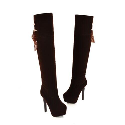 13cm Super High Heels Braun Neu Damen Stiefel Platform Gr.32-52 Overknee Stiefel