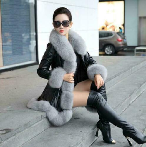 New Womens Faux Fur Trim Outwear Jacket Fur Collar Overcoat Korean Parka Coat