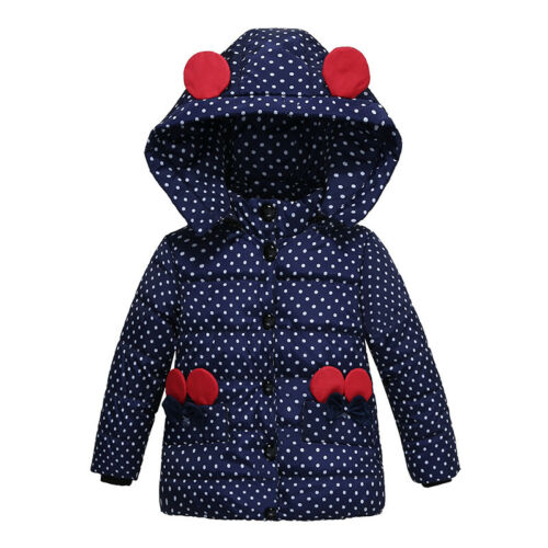 Cute Baby Kids Girls Hooded Winter Warm Coat Padded Jacket Child Outerwear Cloth