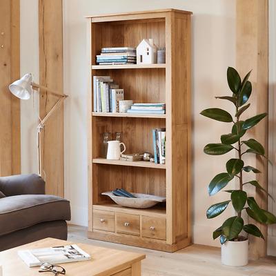 Mobel Oak Large Bookcase - Tall Bookshelf - 4 Shelf Bookcase With 3 Drawers