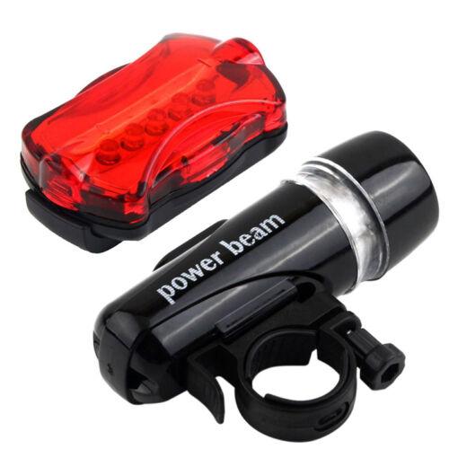 5 LED Lamp Bike Bicycle Front Head Light Rear Safety Waterproof FlashlightNWKV