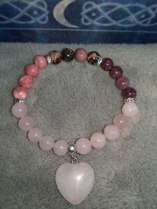 Rose-Quartz-Rhodochrosite-Lepidolite-Bracelet-Crystal-Healing-With-Heart