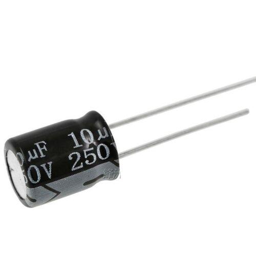 10PCS 10uF 250V 10MFD 250Volt Electrolytic Capacitor 10mm×13mm Radial