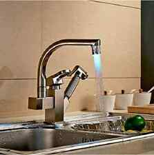 Kitchen Sink Faucet LED Swivel Spout Pull Out Sprayer Hot and Cold Water Pipes