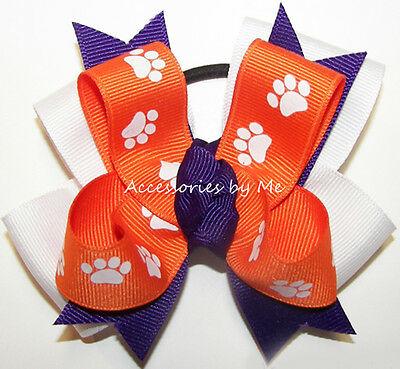 Paw Print Pigtail Hair Bow Orange Purple Clemson Tigers Girls Cheer Accessories