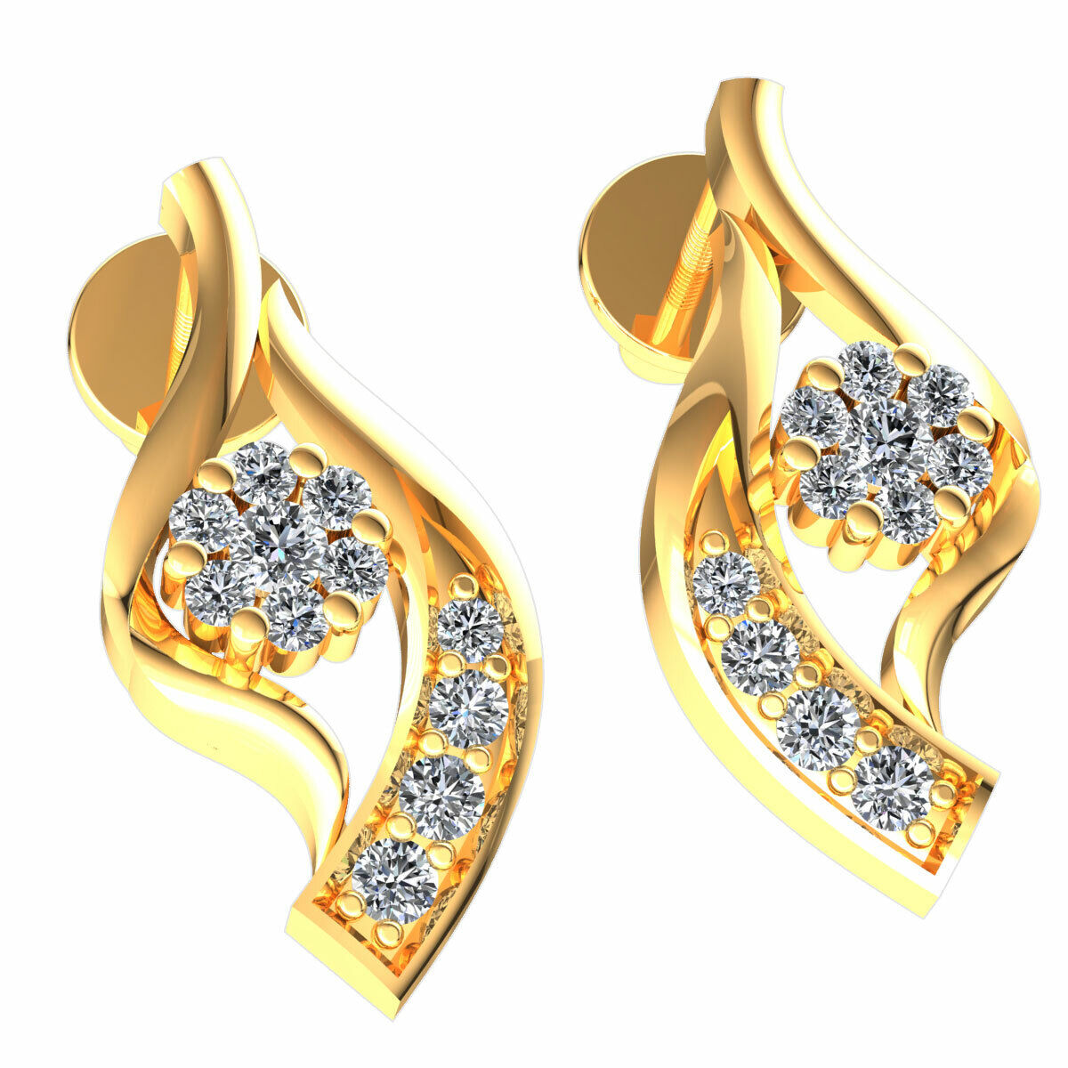 Real 0.25carat Round Cut Diamond Ladies Floral Cluster Earrings Solid 14K gold