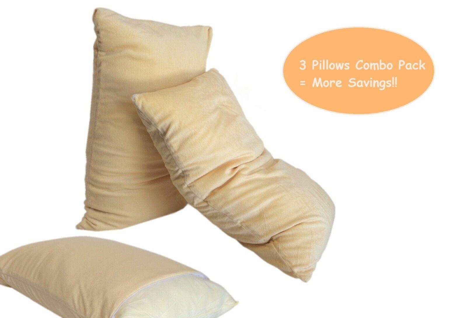 3 MicroCushion Memory Foam Bed Queen Pillows + Beige Velour Plush Comfort Cases