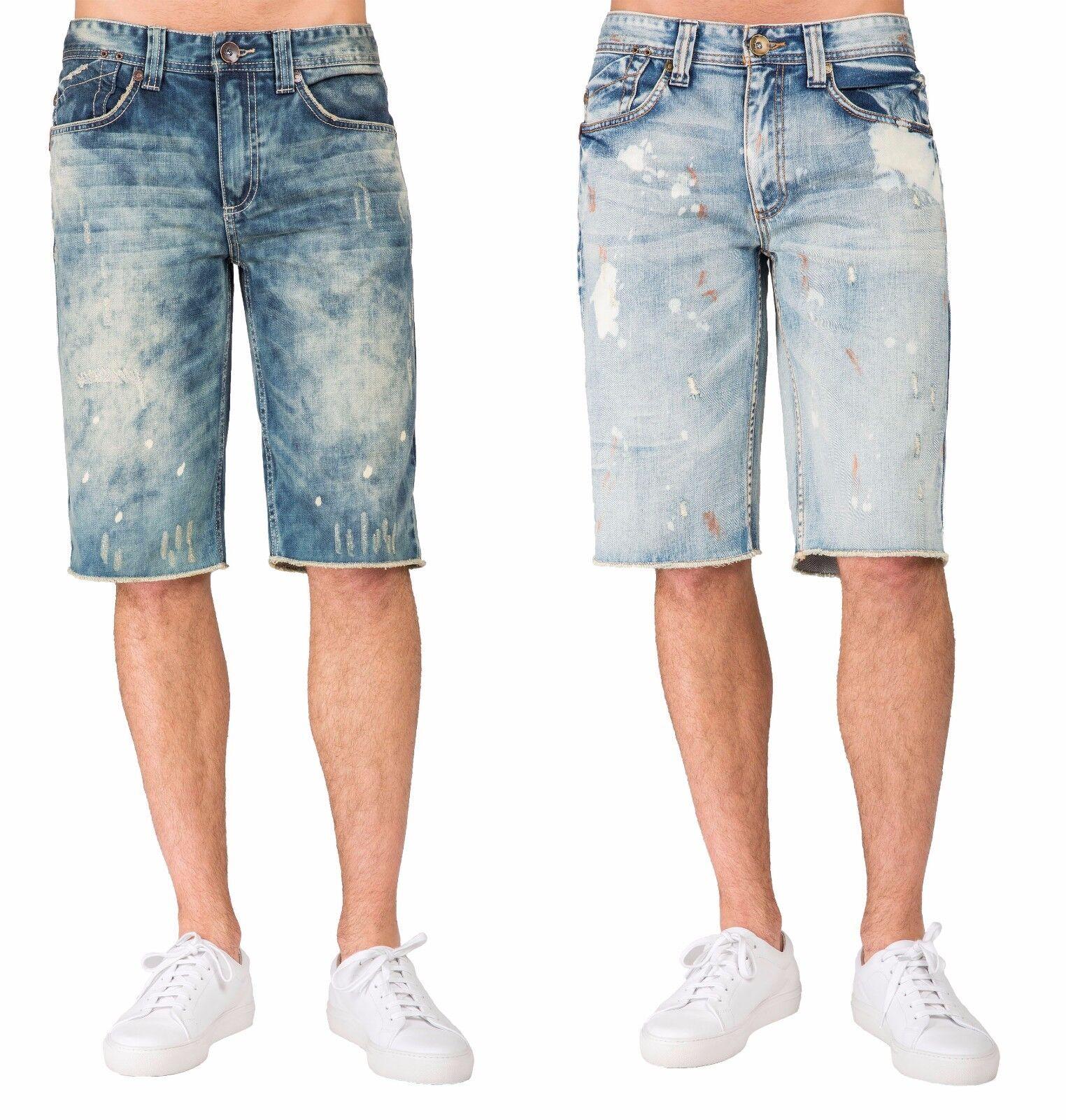 Nivel 7 para hombre Premium Denim Shorts  midrise cortar Bleach Azul Manchas  promociones