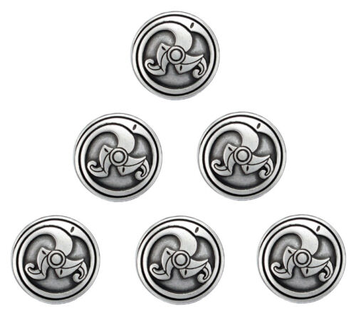 LOT OF 6 WESTERN SADDLE ANTIQUE SILVER BS 9167 SCREW BACK CELTIC CONCHOS 1 INCH