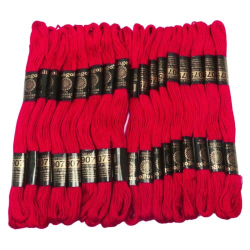 25 Pcs Red Cotton Thread Sewing Floss Skein Cross Needlepoint Embroidery Stitch