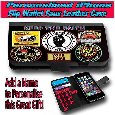 huge discount 64b29 2d3d7 PERSONALISED NORTHERN SOUL iPHONE 4, 5, 6 LEATHER FLIP CASE | eBay