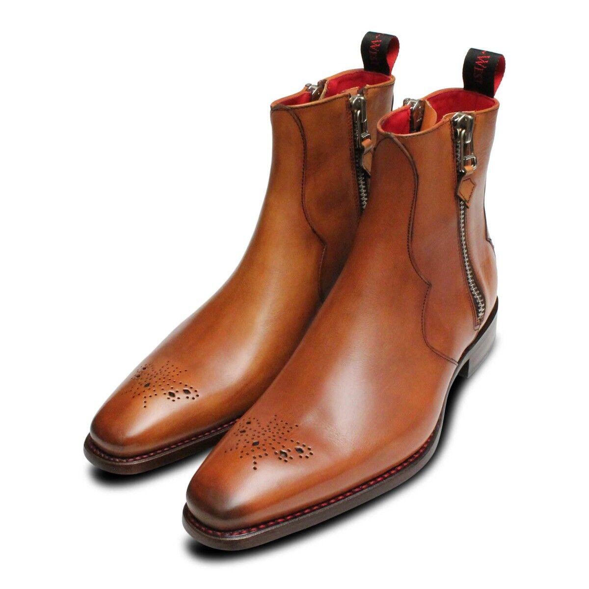 Twin Zip Jeffery Jeffery Jeffery West Brogue Stiefel in Mahogany 721ede