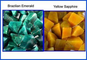 2000 Ct Brazilian Emerald & Yellow Sapphire Natural Gemstone Polished Rough Lot