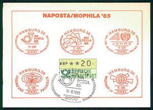 Bien Brd Atm Mk 1985 Distributeurs Automatiques Marque Maximum Carte Hambourg Naposta Mophila Mc Cm/m1463-afficher Le Titre D'origine Complet Dans Les SpéCifications