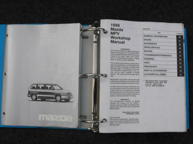 1998 Mazda Mpv Factory Workshop Service Shop Repair Manual Set With Wiring Book