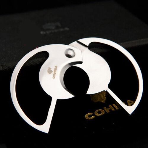 Pouch COHIBA Cigar Cutter Stainless Steel Double Blades Circular Cigar Scissor