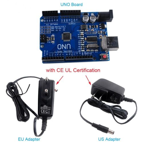 CH340G ATmega328P UNO R3 Board AC100V-240V to D 9V 1A EU US Adapter Power Supply
