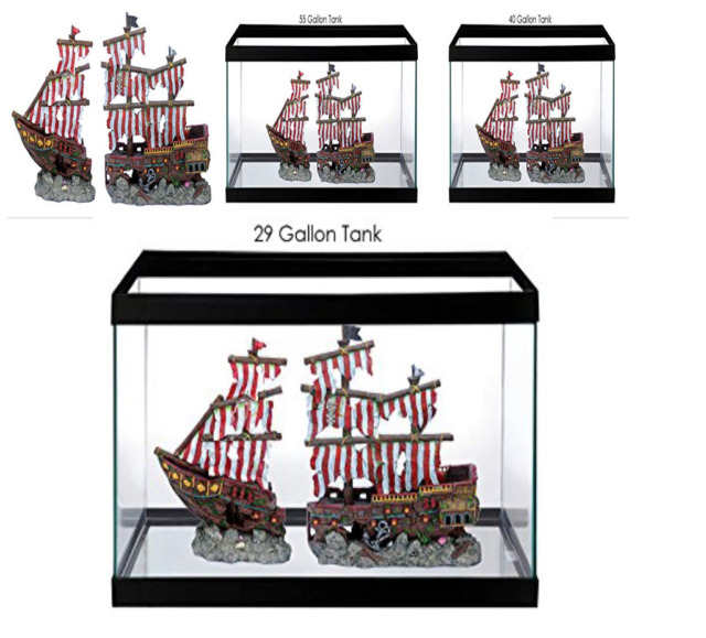 2 Piece Sunken Pirate Ship Fish Tank Ornament Aquarium Decoration