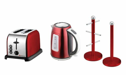 6PC Set of Electric Kettle Toaster Mug Tree /& Kitchen Roll Holder Ruby Red