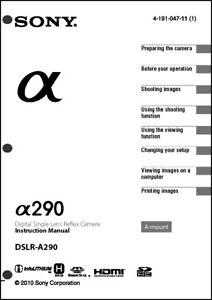 sony dslr alpha a290 digital camera user guide instruction manual ebay rh ebay com User Manual Instruction Manual Clip Art