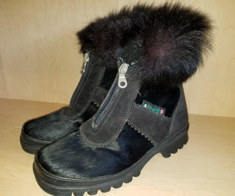 Pajar Invierno botas Nieve Negro De Piel De Pelo Pelo Pelo De Cabra Para Mujer Talla 35.5 o 5. hecho en Italia  están haciendo actividades de descuento