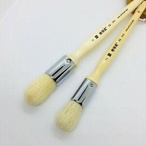 XDT#2916 2Pc #1 #3 Round Wax Paint Brush Bristles with Comfort-Grip Wood Handle