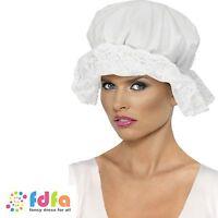 WHITE LACE VICTORIAN MOP CAP HAT ladies womens fancy dress costume accessory