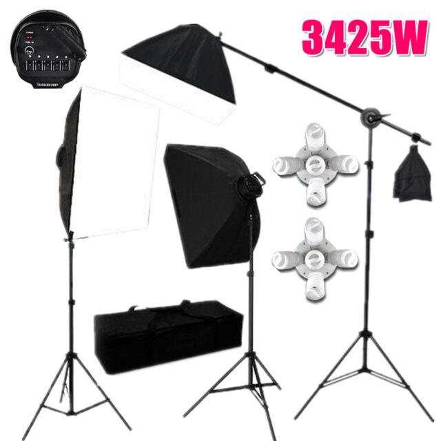 Photography Photo Studio Softbox Continuous Video Soft Box Lighting Boom Arm Kit