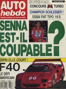 AUTO-HEBDO-n-700-du-1er-Novembre-1989-Senna-Ferrai-F40-Fiat-Tipo-16V