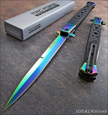 TAC-FORCE EXTRA LARGE RAINBOW SPECTRUM ASSISTED OPENING STILETTO KNIFE NEW