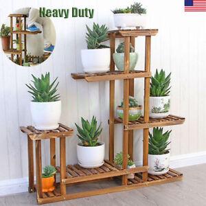 Image Is Loading Wooden Plant Flower Stand Shelves Garden Planter 5