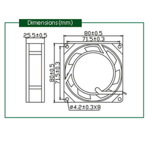 80 mm AC220V Ventilateur De Refroidissement Électrique cabinet d/'échappement 2 fils 8025 80*25mm