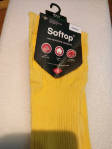 Ladies Soft Top Yellow Cotton Socks size 6-11 Non restrictive comfort fit