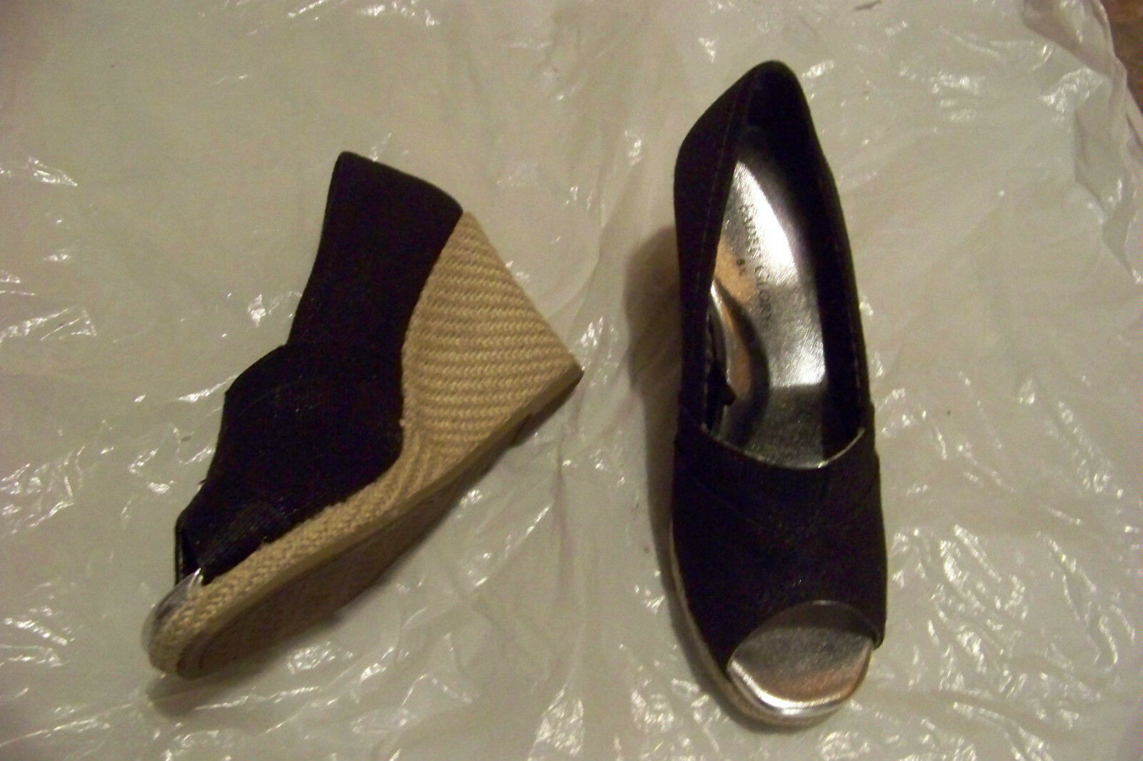 womens faded glory black heels fabric open toe wedge heels black shoe size 5 1/2 b84a6f