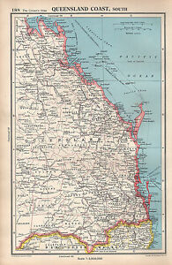 Map Of Australia Qld Coast.Details About 1952 Map Australia Queensland Coast South Brisbane