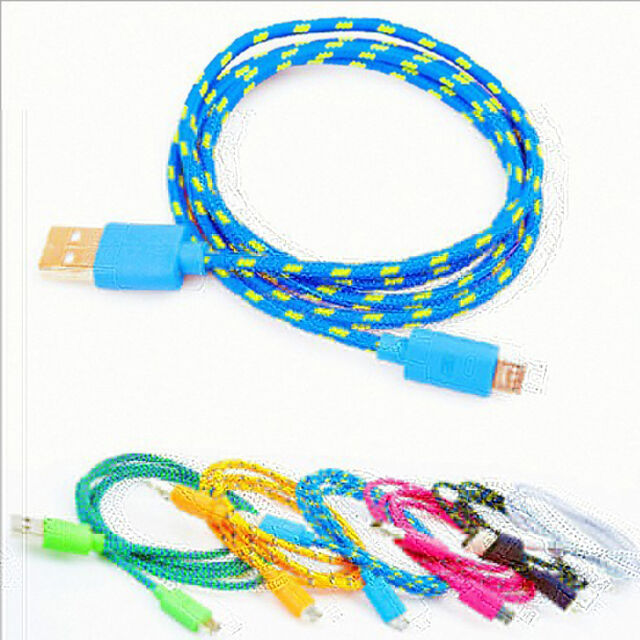 Braided USB Micro Data Sync Charger Cable Cord for Samsung Android HTC 1/2/3M