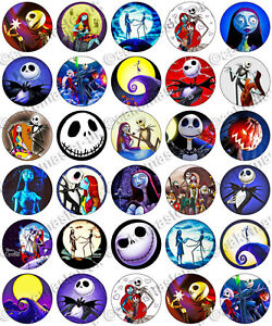 12 pre cut nightmare before christmas edible wafer toppers 5 cm