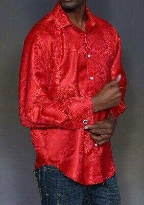 Men Manzini Shiny Stage Performer Paisley Shirt French Cuff mzt310 Navy formal