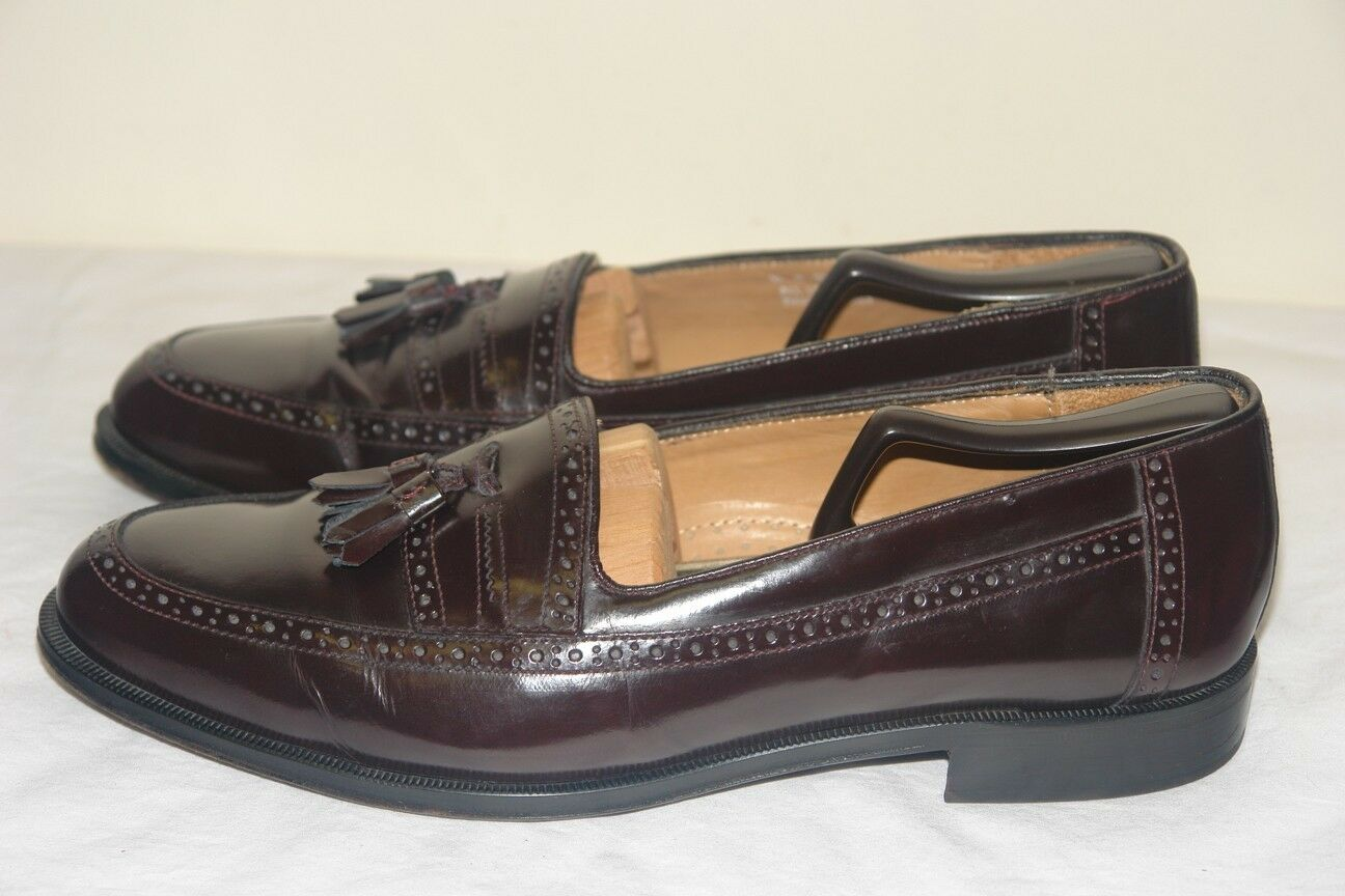 STAFFORD ALL LEATHER Men's Burgundy LOAFERS Slip-on shoes Sz 11 M Made in