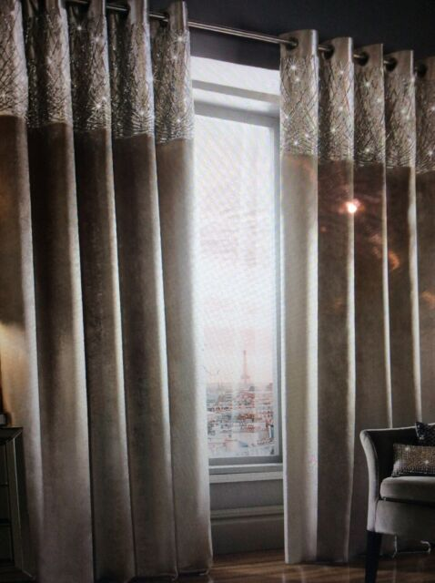 Kylie Minogue Esta Eyelet Ring Top Fully Lined Pair Of Curtains Silver 66x72
