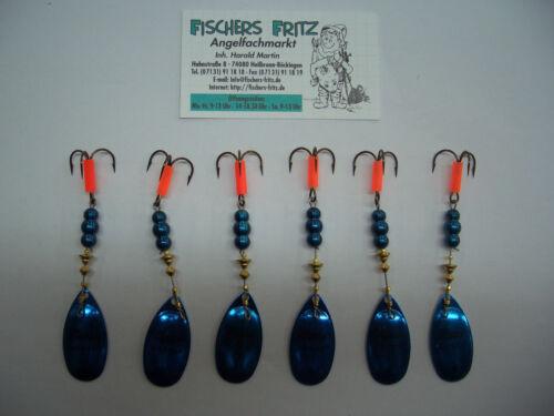 6 Stück 5 x Mepps Aglia Platinium blau Gr.4 mit 8g zum Sparpreis 1 Gratis