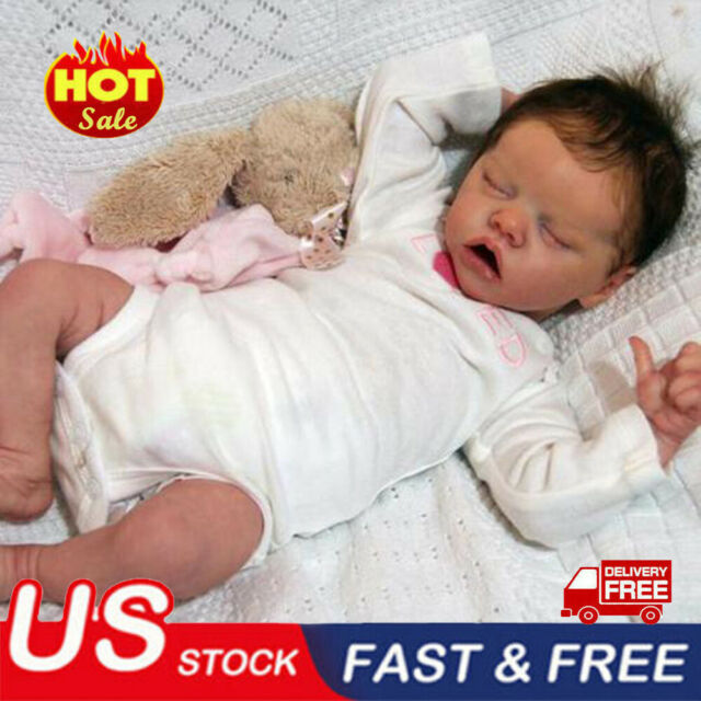 "22/""Reborn Toddler Newborn Lifelike Baby Dolls Full Body Silicone Girl Doll+Cloth"