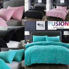 Teddy Bear Fleece Duvet Cover Set Pillow Case Super King Sherpa Thermal Bedding