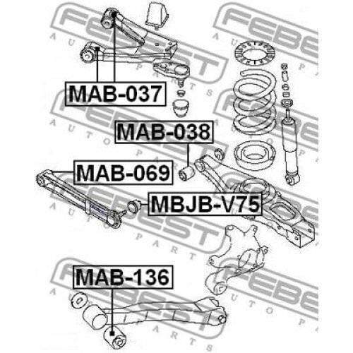 FEBEST Control Arm-//Trailing Arm Bush MAB-136